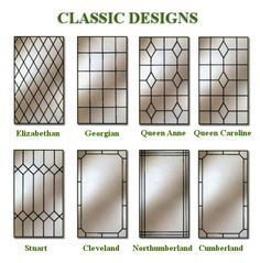 Simulated Leaded Glass Classic Designs