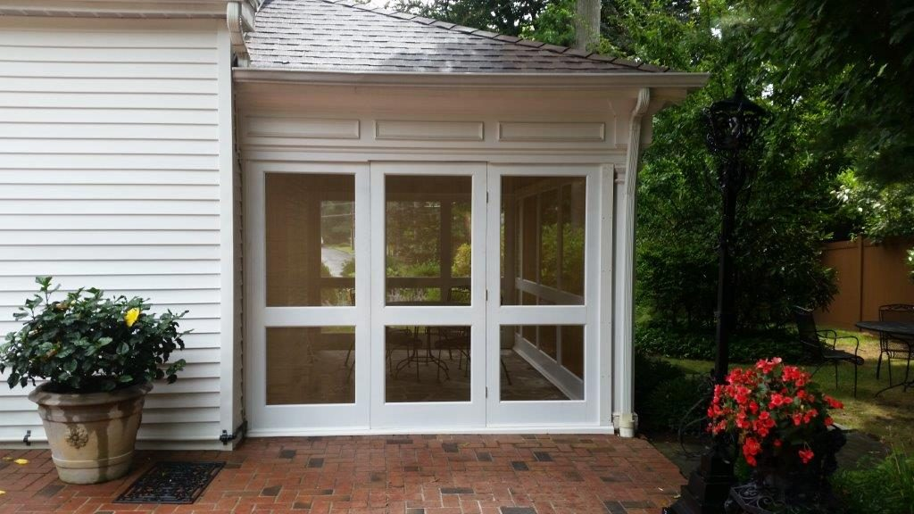 screened-in porch with brass screen