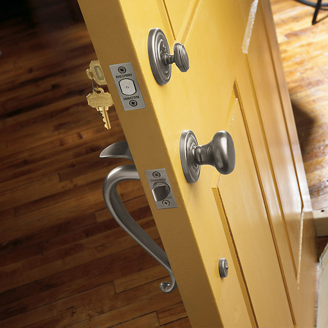 Baldwin silver door knob handle