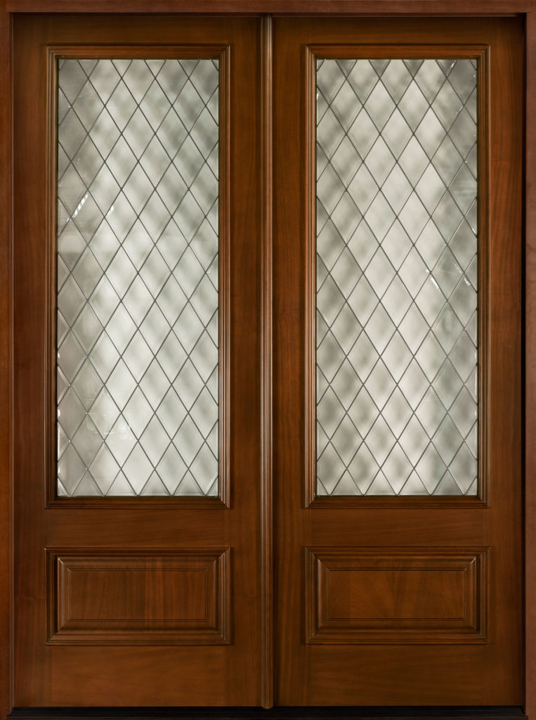 Simulated Leaded Glass on Wood Double Door