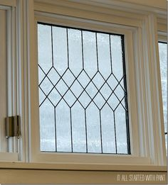 Simulated Leaded Glass on White Square Window