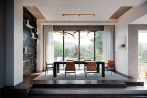 Modern Direct Glaze Window Ebony Interior Dining Room