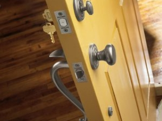 Baldwin silver door knob handle